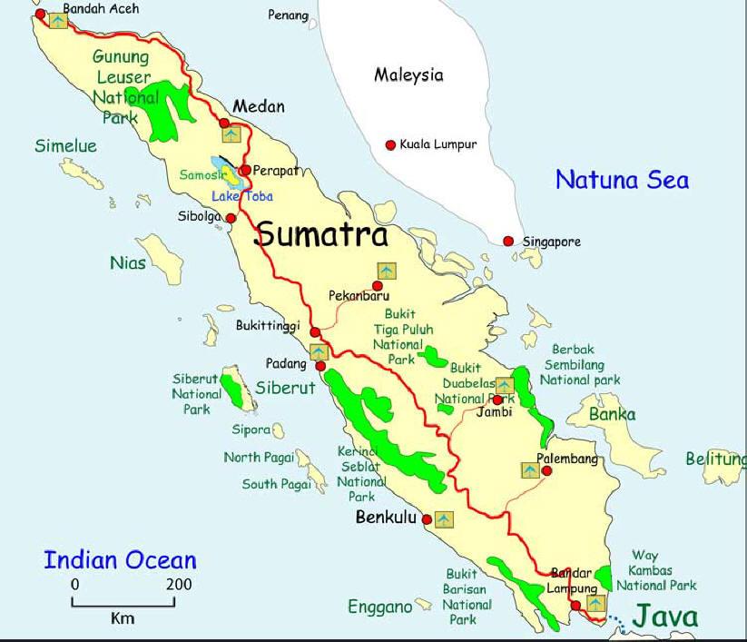 Imagen del Mapa de Sumatra